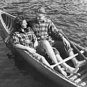 Couple Canoeing Art Print