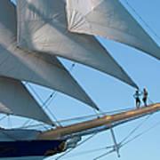 Couple On Bowsprit Of Sailing Ship Art Print