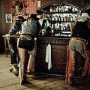 Cowboys At Saloon Art Print