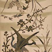 Cranes And Birds At Pond 1880 Art Print
