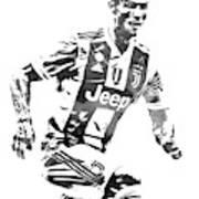 Cristiano Ronaldo Juventus Water Color Pixel Art 4 Art Print