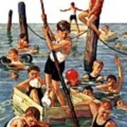 Crowd Of Boys Swimming Art Print