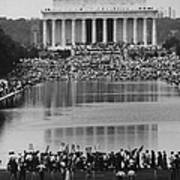 Crowd Of People Attending A Civil Rights Art Print