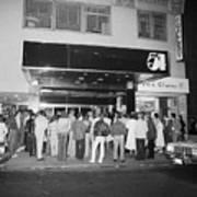 Crowd Standing In Front Of Studio 54 Art Print