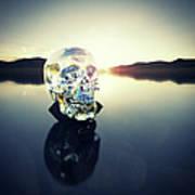 Crystal Skull Laying On Rock In Lake Art Print