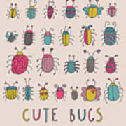 Cute Bugs. Cartoon Insects In Vector Set Art Print