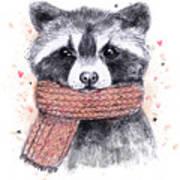 Cute Raccoon With Scarf , Sketchy Art Print