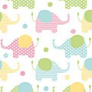 Cute Seamless Pattern With Elephants In Art Print
