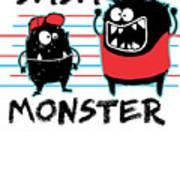 Dada Monster Cute Monster Cartoon For Kids And Dad Light Art Print