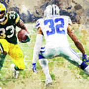 Dallas Cowboys Against Green Bay Packers. Art Print