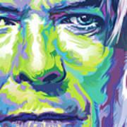 David Bowie Portrait In Aqua And Green Art Print