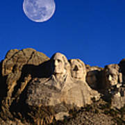 Daytime Moon Above Presidential Faces Art Print