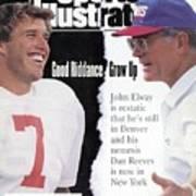 Denver Broncos Qb John Elway And New York Giants Coach Dan Sports Illustrated Cover Art Print