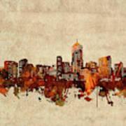 Denver Skyline Sepia Art Print