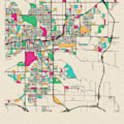 Des Moines, Iowa City Map Art Print