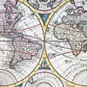Detail Copper Engraving Of World Map Art Print