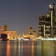 Detroit Skyline At Night Art Print