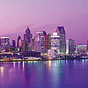 Detroit Under Purple Sky Art Print