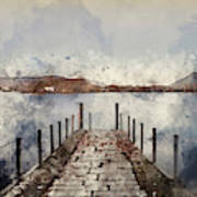 Digital Watercolor Painting Of Landscape Image Of Derwent Water  Art Print