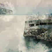 Digital Watercolor Painting Of Peaceful Landscape Of Stone Jetty Art Print