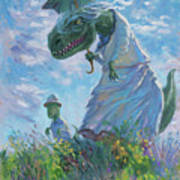 Dinosaur And Son With A Parasol  Art Print