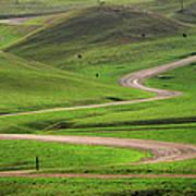Dirt Road Through Green Hills Art Print