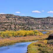 Distant Boat On The San Juan River In Fall Art Print