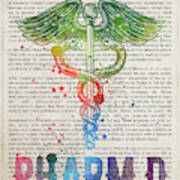 Doctor Of Pharmacy Gift Idea With Caduceus Illustration 03 Art Print