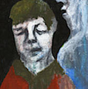 Double Portrait On Black Art Print