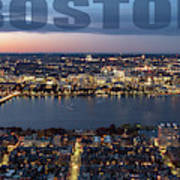 Downtown Boston At Night With Charkes River In The Middle Art Print