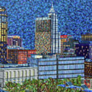 Downtown Raleigh - City At Night Art Print