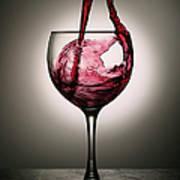 Dramatic Red Wine Splash Into Wine Glass Art Print