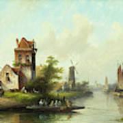 Dutch Landscape With Windmill Art Print