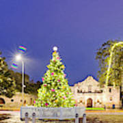 Early Morning Panorama Of Christmas Tree And Lights At The Alamo Mission - San Antonio Texas Art Print