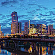 Early Morning Panorama Of Downtown Austin From South Lamar Bridge Over Lady Bird Lake - Austin Texas Art Print