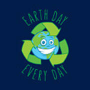 Earth Day Every Day Recycle Cartoon Art Print