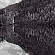 Echo Lake Reflection Black And White Art Print