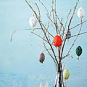 Egg-shaped Decorations On Branches Art Print