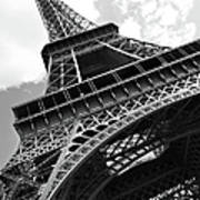 Eiffel Tower In Black And White Art Print