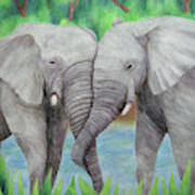 Elephant Couple Art Print