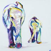 Elephants Side By Side Art Print