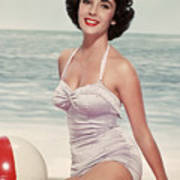 Elizabeth Taylor In A Bathing Suit Art Print