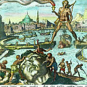 Engraving Of The Colossus Of Rhodes Art Print