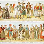European Costumes Lithograph 1897 Art Print