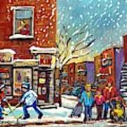 Face Off Street Hockey At The Corner Dep Snow Falling Streets Of Montreal Quebec Artist C Spandau Art Print