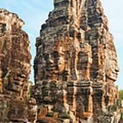 Faces On Bayon Temple Cambodia Art Print