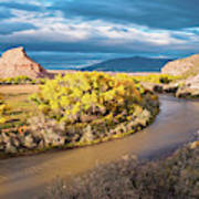 Fall Panorama Of Rio Chama Valley And Changing Cottonwoods - Abiquiu Northern New Mexico  Art Print