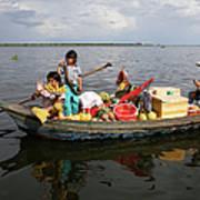 Family & Snake Sell Wares On Tonle Art Print