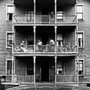 Family On Balcony Of Apartment Building Art Print