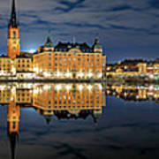 Fantastic Stockholm City Hall And Gamla Stan Reflection With Clouds Art Print